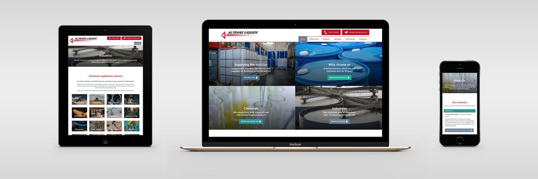 Altrans Liquids website design and development